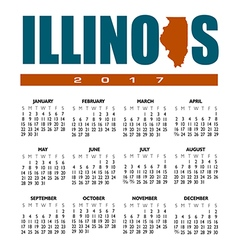 2017 illinois calendar vector