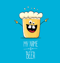 cartoon funky beer glass character on blue vector image