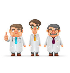 doctors team experienced fat thin tall mustache vector image vector image