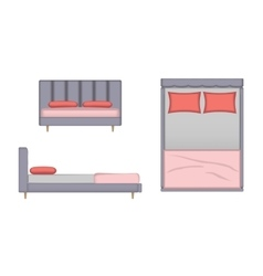 Realistic Bed Top Front Side View vector image