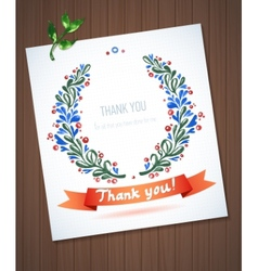 THANK YOU watercolor floral wreath with ribbon vector image