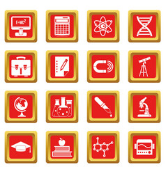 education icons set red vector image vector image