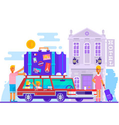 family father mother son travel lifestyle concept vector image vector image