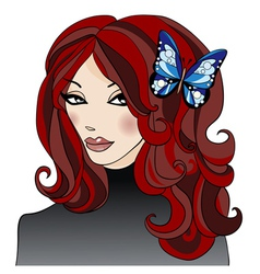 GirlWithButterflyInHair vector image vector image