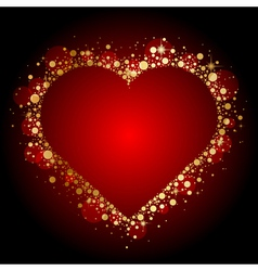 gold shiny heart on red background vector image vector image
