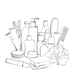 Hand drawn collection of products for body care vector