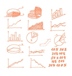 Hand drawn graphs vector image