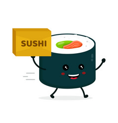 happy cute smiling funnu sushi roll vector image vector image