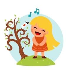 Little Happy Girl Sing Bird Tree Symbol Smiling vector image vector image