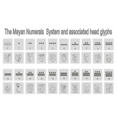 monochrome icons set with mayan numerals system vector image
