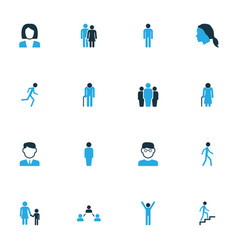 people colorful icons set collection of stairs vector image