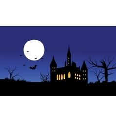 Silhouette of castle Halloween and full moon vector image