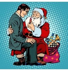 Christmas gift Santa Claus and businessman vector image