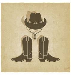 cowboy old background vector image vector image