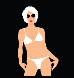 girl blonde in bikini pose vector image vector image