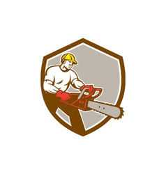 Lumberjack Tree Surgeon Arborist Chainsaw Shield vector image vector image