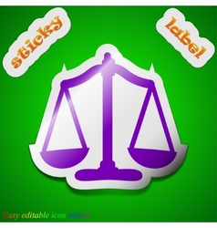 Scales balance icon sign Symbol chic colored vector image