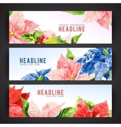 Set of banner templates with beauty flowers vector image vector image