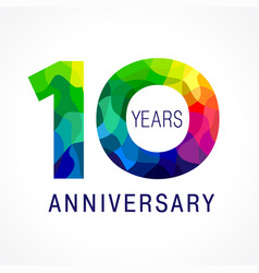 10 anniversary color facet logo vector