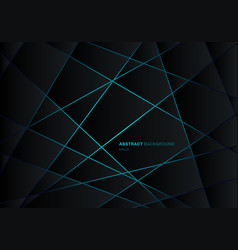 Abstract black geometric polygon on blue light vector