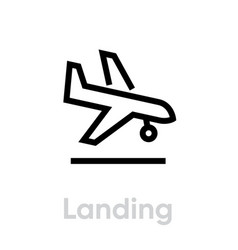 Airplane landing icon editable line vector