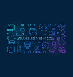 all-electric car colorful outline banner vector image