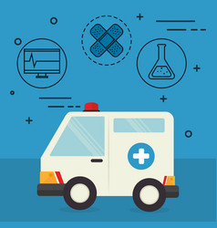 ambulance with medical healthcare icons vector image
