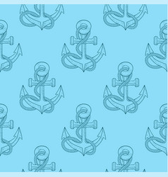 Anchors with rope blue sketch as seamless pattern vector