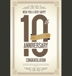 anniversary retro vintage background 10 years vector image