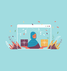 Arabic woman celebrating online birthday party vector