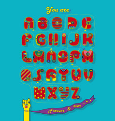 artistic alphabet with encrypted romantic message vector image