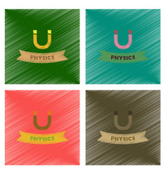 assembly flat shading style icons physics lesson vector image