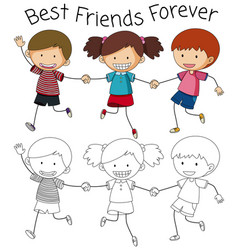 Best friend doodle graphic vector
