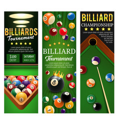 Billiards club championship and tournament banners vector
