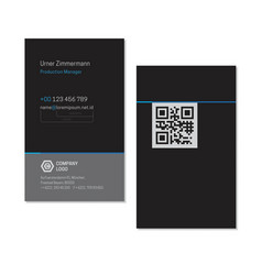 black elegant name card template with qr code vector image