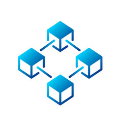 Blockchain blue creative icon or logo vector
