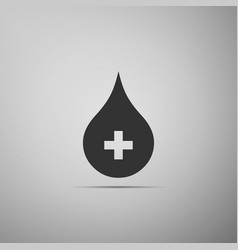 blood drop icon isolated on grey background vector image
