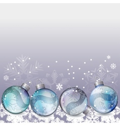 blue christmas background with glass balls vector image