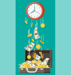 briefcase coins banknotes falling from clocks vector image