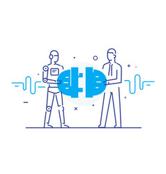 Businessmen and robot connect connectors vector