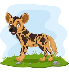 Cartoon african wild dog in grass vector
