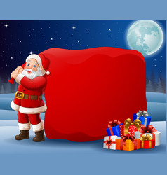 cartoon santa clause pulling big bag vector image