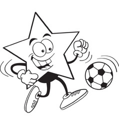 Cartoon smiling star playing soccer vector