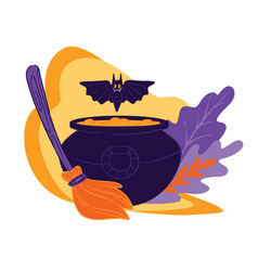 cauldron with magical potion flying bat and broom vector image