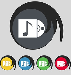 Cd player icon sign Symbol on five colored buttons vector