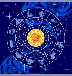 Circle with zodiac signs constellations yellow vector