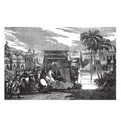 city gates and horsemen vintage vector image