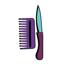 comb and razor icon cartoon vector image