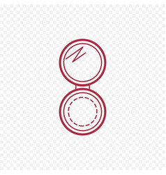 cosmetic open compact powder thin line icon vector image