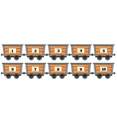 Counting numbers on wooden wagons vector